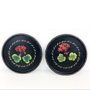 Hand Painted Floral Round Black Toleware Trays